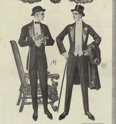 1912 black tie white tie, with a bowler at left and a top hat at right.