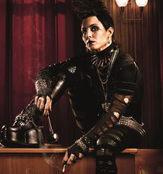 "My favorite goth/punk ensemble worn by the original Lizbeth Salander from the Swedish version of the film ""The Girl With The Dragon Tattoo""..with Noomi Repace"