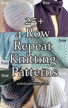 Knitting Patterns that use 4 row repeats for blankets, scarves, cowls, hats and more. Most patterns are free.
