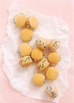 Nilla Wafer Whoopies - a banana slice, sandwiched between two mini Nilla wafer cookies with a little peanut butter spread for added flavor and then dipped in sprinkles for added happiness.