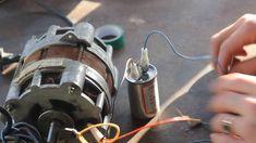 Подключение электродвигателя от старой стиральной машинки через конденса...