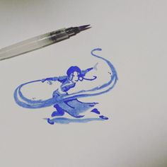 """""""I saw a cool minimalist artwork of Katara waterbending on pinterest, so I tried painting it. Enjoy, my fellow non-benders Side note: I got my…"""""""
