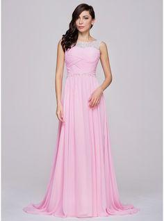 A-Line/Princess Scoop Neck Court Train Chiffon Prom Dress With Ruffle Beading