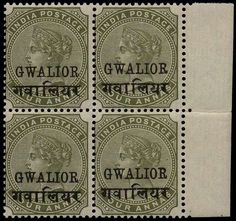 "£400 I.C.S Gwalior 1885-97 4a slate-green, right marginal block of four showing variety ""OVERPRINT DOUBLE, ONE ALBINO"", SG27ca.  A superb quality unmounted mint example of this scarce Indian States variety, particularly as a multiple.  The SG catalogue value for a single stamp is £100. Albino, Stamp Collecting, Postage Stamps, Slate, Mint, Indian, Green, Chalkboard, Peppermint"