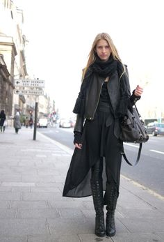 all black layers - sheer waterfall skirt + jacket + skinny pants + scarf + laced boots + bag | fall autumn style