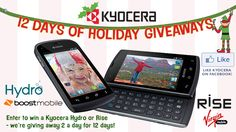 Hi - I just found this sweepstakes you might like as well.  If you like Kyocera Mobile Phones on Facebook, you can enter to win a Waterproof Kyocera Hydro smartphone or a Kyocera Rise smartphone with a QWERTY keypad.  Kyocera is giving away one of each per day for 12 days during the holidays, and you can enter once per day.  Check it out on their Facebook page - www.facebook.com/kyoceramobilephones.    Good luck!