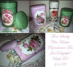 Three Shabby Chic Antique reproduction Tins $14.99