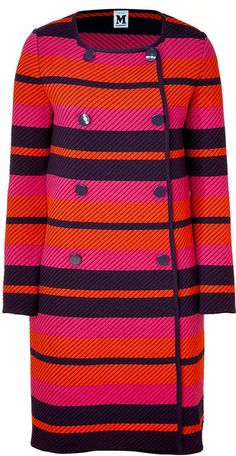 MISSONI Striped Double-breasted Knit Coat