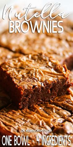 This Nutella Brownie Recipe makes the VERY BEST thick  chewy brownies with a perfectly crackly top. Just one-bowl  4-ingredients needed! German Chocolate Cake Cookies, Chocolate Peppermint Cookies, Chocolate Desserts, Chocolate Hazelnut, Cheesecake Desserts, Easy Desserts, Delicious Desserts, Cheesecake Strawberries, Dessert Recipes