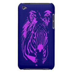 Neon PinkPurple Zebra (blue) ~ iPod Touch 4th Generation Case. Into the Jungle ~ Zazzle Store.