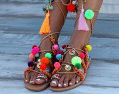 Chili Mango Sandals, Tie Up Gladiator Sandals, Greek Leather Sandals, Boho sandals, Pom Pom sandals