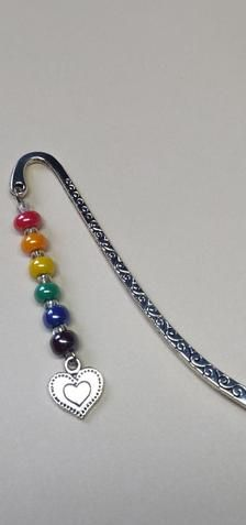 Handmade Rainbow Heart in Heart Bookmark - Thinking of You / Letterbox Gift Rainbow Theme, Rainbow Heart, Glass Ceramic, Ceramic Beads, Heart Bookmark, Letterbox Gifts, Book Lovers Gifts, Organza Bags, Heart Charm