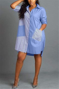 Denim Fashion, Look Fashion, Fashion Outfits, Suit Fashion, 1950s Fashion, Chic Outfits, Trendy Fashion, Collared Shirt Dress, Striped Shirt Dress