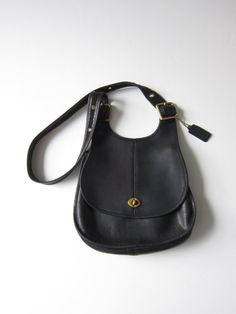 NYC Vintage Coach Hobo Saddle Handbag in Black by ModernSquirrel, $129.00