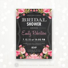 """Printable Bridal Shower Invitation Chalkboard  Pink by AmeliyCom, $15.00 Printable Bridal Shower Honoring Invitation, Bridal Shower Invite Editable DIY INSTANT DOWNLOAD Bridal Shower Party Flyer 5x7 - Just print cut and ready to go!   Editable Bridal Shower Invitation #7 Chalkboard  Pink Rose You can change the title to """"Bridal TEA PARTY"""", """"Bridal BRUNCH"""" and etc."""