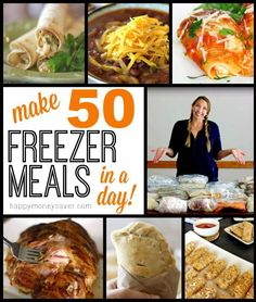 50 Freezer Meals in a Day - a guide to cooking a lot of meals all in one day and eating for a month or longer. Plus recipes and tips for success.