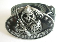 SONS OF ANARCHY BELT BUCKLE WITH GENUINE LEATHER SNAP ON BELT WAIST 28 - 52