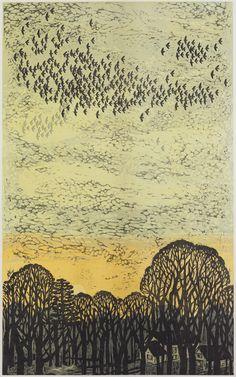 """Days End, 52"""" x 32"""" color woodcut by Kent Ambler"""
