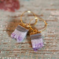 """I liked ones similar to this with the """"slice gemstone""""; The Savannah Petite Gold Hoop Earrings"""