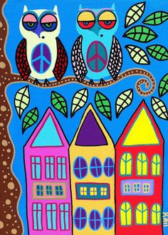 Kerri Ambrosino Mexican Folk Art NEEDLEPOINT City Peace Owls Houses on Etsy, $22.99
