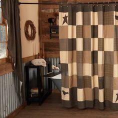 New Kettle Grove Primitive Country Folk Art CROW BLACK STAR Ditsy Shower Curtain