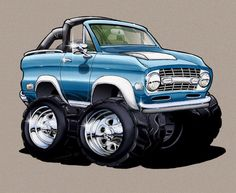 Bronco, the early years. Cool Car Drawings, Cartoon Drawings, Cartoon Art, Caricatures, Ford Humor, Hot Rods, Arte Lowrider, Ford Bronco, Bronco Truck