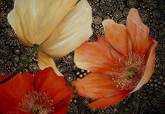 """Saatchi Online Artist: Cherie Dirksen; """"Poppy Trio"""""""