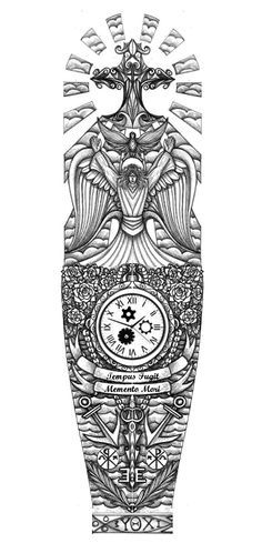 Religious full sleeve tattoo design by thehoundofulster