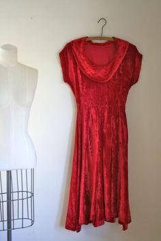 vintage 40s velvet dress  CRUSHED red velvet gown / XXS by MsTips, $68.00