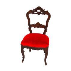 Vintage Red Velvet & Mahogany Side Chair - $675 Est. Retail - $325 on Chairish.com