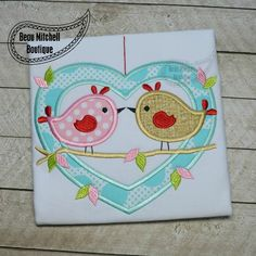 Love birds applique - Beau Mitchell Boutique