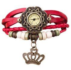 cafbfb513cb Retro vintage kožené náramkové hodinky s přívěškem červené Na tento produkt  se vztahuje nejen zajímavá sleva