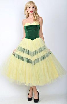 Vintage 50s Green Velvet Yellow Tulle Dress by thekissingtree