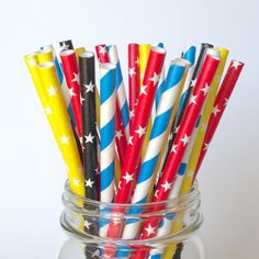 Calling all Superheroes...these are for you! You will 5 varieties of straws featuring polka dots, chevrons, stars and stripes in black, red, blue and yellow exactly like the photos. Straws are 7 3/4 i