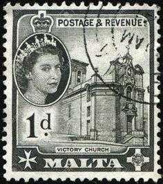 8381319-MALTA-CIRCA-1956-A-stamp-printed-in-Malta-shows-Queen-Elizabeth-II-and-Victory-Church-circa-1956--Stock-Photo.jpg (1151×1300)