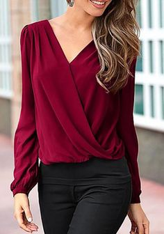 9452a5fb88 Wine Red Splicing Ruffles Puff Sleeve Blouse Red Outfits For Women