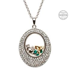 A sparkling and sentimental display, this Trinity Claddagh Pendant has many special details that make it as unique as the person wearing it. The Celtic Claddagh, crafted out of sterling silver, and Trinity Knot, plated in gold, are tucked inside a brilliant outer oval that is adorned with rows of crystals from Swarovski®.Cultural SymbolsThe Claddagh and Trinity Knot are undeniably Celtic, with each holding special meaning.