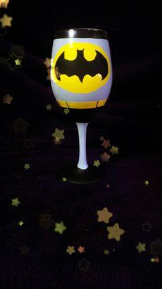 Batman inspired wine glass. by AWhimsicalHoot on Etsy, $20.00
