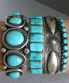 Vintage Old Pawn Silver & Turquoise Native American Cuff Bracelets