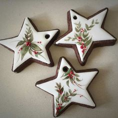 Ideas painting christmas cookies decorating ideas – Cooker here Christmas Sugar Cookies, Christmas Sweets, Christmas Cooking, Noel Christmas, Christmas Goodies, Holiday Cookies, Decorated Christmas Cookies, Star Sugar Cookies, Decorated Cookies