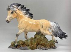 Handmade and custom glazed by me Fjord Horse, Horse Portrait, Brisbane Australia, Horses For Sale, Glazed Ceramic, Pony, Lion Sculpture, Pottery, Statue