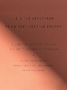 This is such a pretty wedding invitation for a post wedding brunch! Love the delicate letterpress and pale red color scheme as well as the minimalist, sleek and elegant layout. Stationery Design, Brochure Design, Invitation Design, Wedding Stationery, Branding Design, Wedding Invitations, Invites, Post Wedding, Wedding Tips