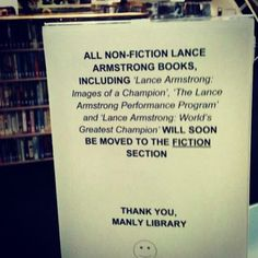 Lance Armstrong books move from non-fiction to fiction... :-)