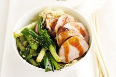 This hoisin pork fillet with stir-fried Chinese greens is a good source of fibre, potassium and folate.