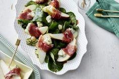 Birne mit Gorgonzola und Serrano auf Feldsalat