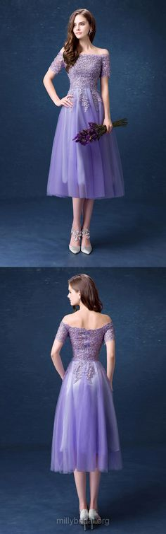 Purple Prom Dresses For Teens 2018, Lace Prom Dresses Short Sleeve, A-line Prom Dresses Off-the-shoulder, Tulle Prom Dresses Tea-length Appliques