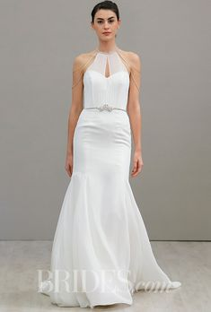 A @hayleypaigejlm wedding dress with a halter neckline | Brides.com