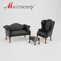 Dollhouse 1/12 Scale Miniature furniture black PU Hand carved chair set #Unbranded