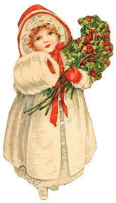 Victorian scrap, girl in winter clothes