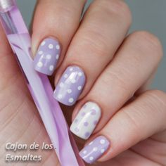 Nails decorated with dotted and striped designs Nail Manicure, Diy Nails, Cute Nails, Pretty Nails, Dot Nail Art, Polka Dot Nails, Polka Dots, Cat Nail Designs, Cute Spring Nails